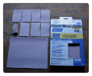 SECTIONING A SHEET OF SANDPAPER